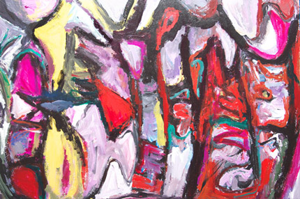 abstract expressionism, pink, red, thick line painting 2006