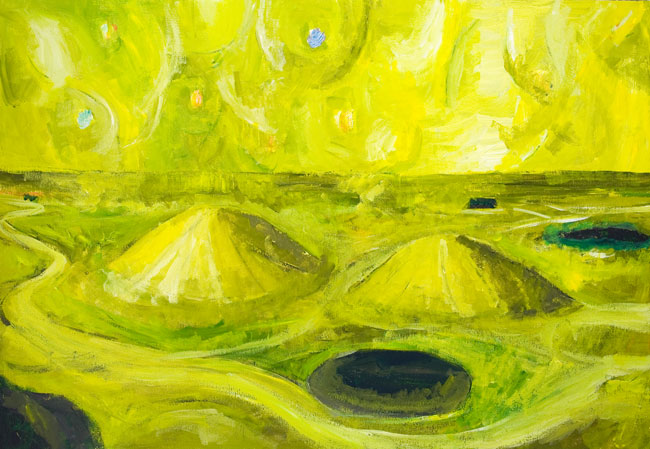 Yellow Landscape with Two Cones