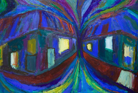 distorted,distortion, abstract, blue, night scene, cityscape, streetscape, dynamic movement, expressionism acrylic painting #5292, 2006 | Kazuya Akimoto Art Museum