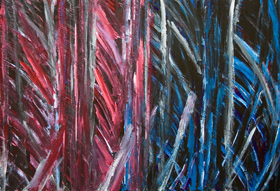 Stealth Fireworks : abstract thick line pattern, blue-red, comparison, juxtaposition, brush stroke pattern, dynamic movement, complementary color, acrylic painting #5338, 2006 | Kazuya Akimoto Art Museum