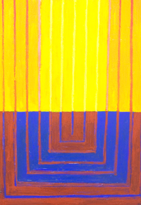 abstract religious, architectural symbolism, light symbolism, geometric expressionism, blue, yellow, red,  complementary color pattern, abstract line pattern, sacred, holy, geometric symbolism, contemporary religious abstract, acrylic painting #5635, 2006 | Kazuya Akimoto Art Museum