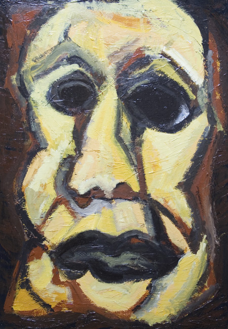 New, espressionism, distorted, distortion, man, male, human face, figurtaive, acrylic painting #6397, 2007 | Kazuya Akimoto Art Museum