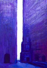 Purple Backstreets : New abstract cityscape, color symbplism, acrylic puple abstract streetscape purple/blue painting # 6426, 2007 ~ Kazuya Akimoto Art Museum