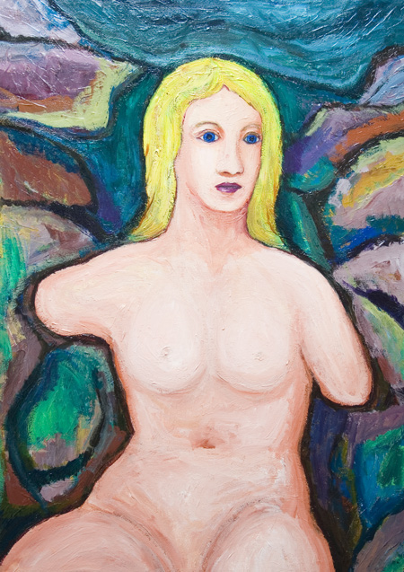 The Birth of Venus (Aphrodite), Golden Hair, Blue Eyes :   New, Mythological Symbolism, Roman/Greek mythology,  female,woman portrait, human figure, abstract human body form, colorful acryli painting #6449, 2007 | Kazuya Akimoto Art Museum