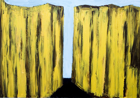 Abstract Yellow Cliffs : abstract landscape, abstract natural scene, outdoor, yellow, natural abstract volume, vertical, abstract mass, semiabstract nature, abstract realism, acrylic painting #6458, 2007 | Kazuya Akimoto Art Museum
