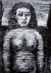 Raw Woman : New, black and white, primitive, naive, female, woman, human figure, stout, female body, woman body, raw art, art brut, outsider art, figurative, black and white expressionism, black, monotone, monochrome, abstract woman body, acrylic painting #6467, 2007