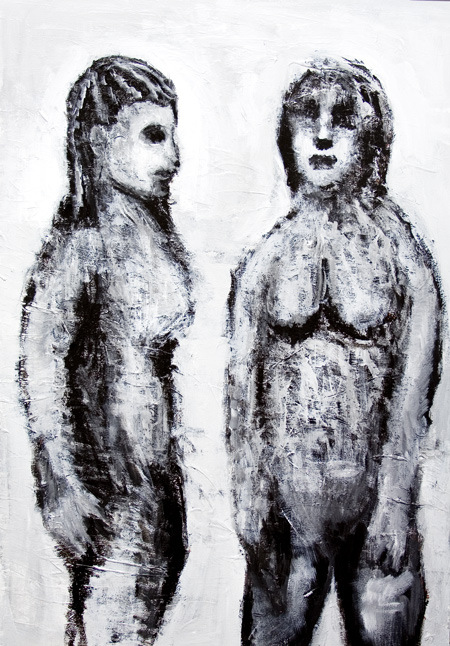 new, raw art, primitive, black and white, odd, strange, human figures, figurative, female, woman, feminine, body, body texture, body form, naive, awkward, juxtaposition, monotone, acrylic painting #6489, 2007 | Kazuya Akimoto Art Museum