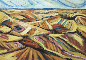 Autumn Fields before Harvest: New, abstract landscape, seasonal nature scene, abstract thick line pattern, agricultural theme, earth color, strong, colorful acrylic semiabstract landscape painting #6514, 2007 | Kazuya Akimoto Art Museum