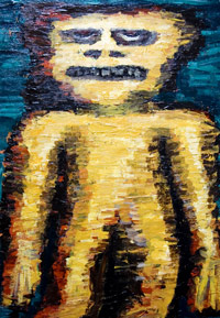 New, symbolic, raw art, art brut, primitive, human figure, figuratve, distortion painting, contemporary, modern, expressionism, raw symbolism, yellow, acrylic, odd creature painting #6524, 2007 | Kazuya Akimoto Art Museum