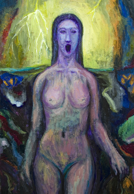 Siren – spring lightning ; New, mythological, contemporary, woman, human figure, figurative, symbolism, symbolic female body, eerie, uncanny, weird, mysterious atmosphere, acrylic painting #6567, 2007 | Kazuya Akimoto Art Museum