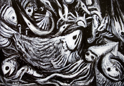 new, Japonism, abstract, living thing, black and white, surreal, surrealism, expressionism, eerie, weird, odd, strange, fish, fishery, fishing, Japaniese traditional theme, abstract still life, nature morte, acrylic painting #6573, 2007 | Kazuya Akimoto Art Museum