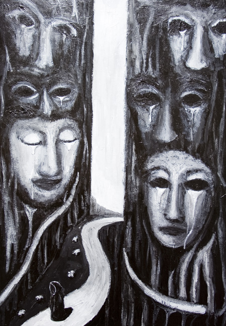 Via Dolorosa (Sorrowful Way): New, black and white, allegorical, symbolism, symbolic, surrealism, odd, strange, eerie, weird atmosphere, surreal expressionism, evocative raw art, biblical,medieval, traditional, christianity theme, contemporary, modern religious, narrative acrylic painting #6582, 2007 | Kazuya Akimoto Art Museum