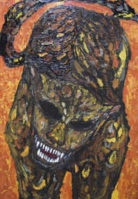 666– The Number of the Beast : New, biblical,symbolism,surrealism, raw art, art brut, mosaic style, fierce, savage, sacry monster image, religious, acrylic, christianity, evil animal painting #6628, 2007 | Kazuya Akimoto Art Museum