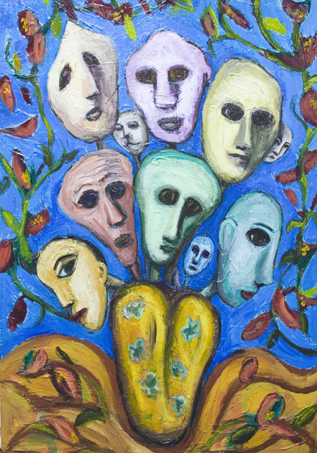 New, raw art, art brut, colorful, odd, strange, human faces, whimsical, snaive, urreal, outsider, acrylic painting #6664, 2007 | Kazuya Akimoto Art Museum
