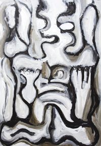 New, monotone, abstract, distortion, distorted, human figure, human form, black and white, thick line, buddhism, abstract figurative acrylic painting #6672, 2007 | Kazuya Akimoto Art Museum