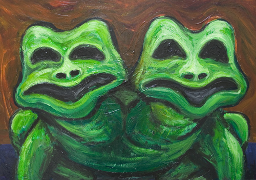 Two-Headed Frog : New, odd, strange, weird, eerie, unusual, distortion, distorted, déformé, animal, creature painting,  surrealist, surrealism, living thing, amphibia, acrylic,animal symbolism painting #6706, 2007 | Kazuya Akimoto Art Museum