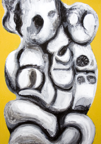 Holy Mother and Child at Absolute Zero : New, religious symbolism, two-dimensional sculptural image, religious surrealism, distortion, distorted, human figures, christianity, love, family,  black and white, abstract human figure, holy, sacred figures, 3d image, figurative abstraction, contemporary icon, iconographic, three-dimensional shape, plastic, solid, two-dimensional stabile image, acrylic religious painting#6883, 2007 | Kazuya Akimoto Art Museum