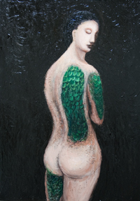 New, mythological, legendary, imagenary, symbolic surrealism, surreal realism, female, woman figure, animal symbolism, contemporary, chiaroscuro, sfumato, classical, traditional techniques,female, human body form, acrylic visionary figurative painting #6893,2007 | Kazuya Akimoto Art Museum