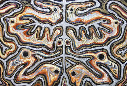 New, geoglyphic, decorative raw art, ornamental, archaeological, geographical, symmetrical, symbolic animal figure line pattern, symbolic symmetrical line patterns, metallic colors, ancient glyph style, gold, silver, bronze, symmetrical,ornamental, decorative, acrylic, contemporary painting #6898, 2007 | Kazuya Akimoto Art Museum