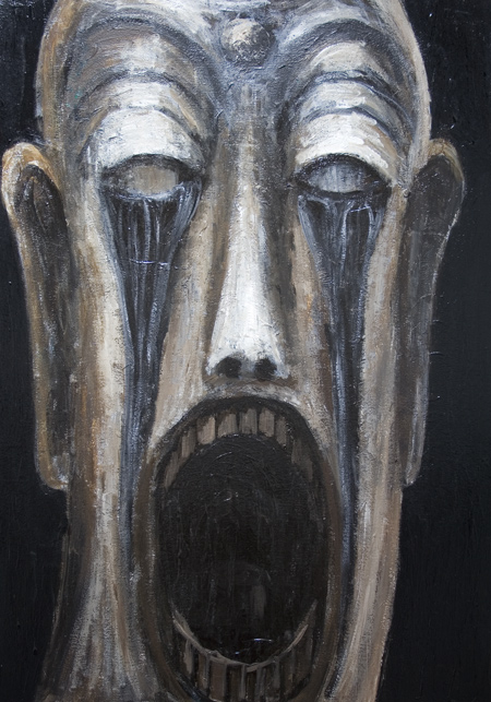 Open Mouth Buddha, shedding Black Tears :New, religious surrealism, religious symbolism, contemporary religious, screaming, crying, face painting,  distorted, distortion, human face, dark, odd, strange, eerie, uncanny, facial expression, acrylic, srureal, expressionism painting #6915, 2007 | Kazuya Akimoto Art Museum