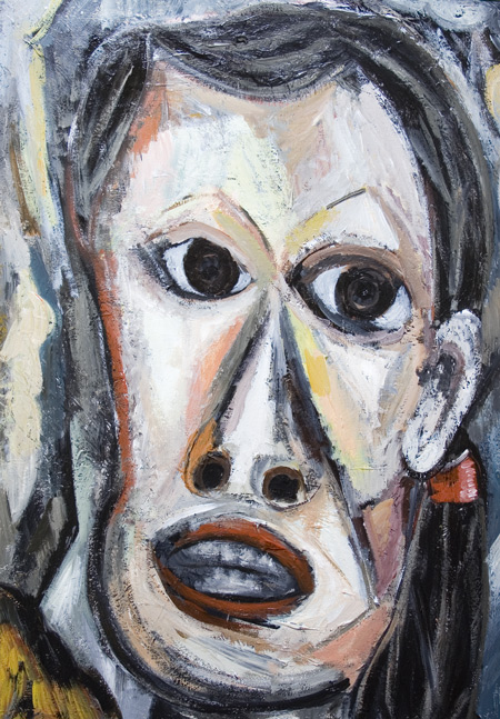 New, expressionism, cubism, woman, female face, facial expressions, contemporary portrait, acrylic painting #6990, 2007 | Kazuya Akimoto Art Museum