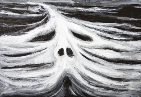 The Head of Leviathan : New biblical legendary sea monster, white mythological great sea monster at sea, darl winter seascape, face, head, facial symbolism, black and white surrealism acrylic painting #7046, 2008 | Kazuya Akimoto Art Museum