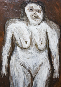 new,  abstract texture,  distorted human figure, expressionism, woman body form, female portrait, abstract figurative painting #7075, 2008 | Kazuya akimoto Art Museum