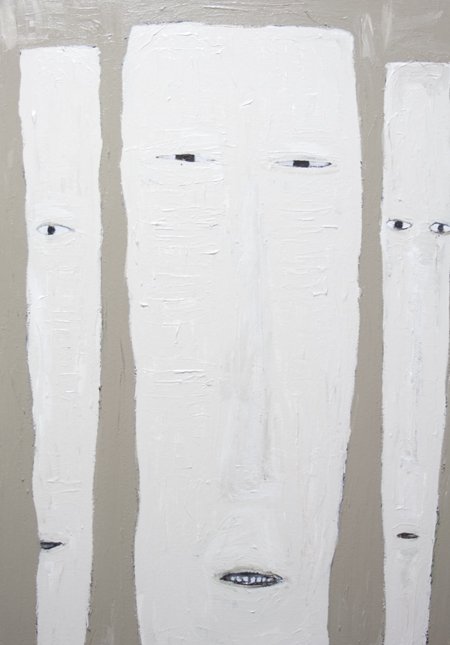 New, abstract human face, rectangular long faces, facial expressions, odd, strange weird, pale, monochrome, Japanese manga, anime  style, acrylic painting #7149, 2008 | Kazuya Akimoto Art Museum