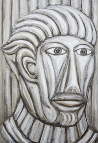 Gladiator :New, neoclassicism, abstract, monochrome, man's expressionism portrait, historic, ancient Rome,  acrylic painting#7205, 2008 | Kazuya Akimoto Art Museum