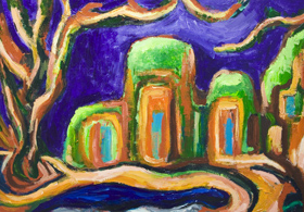 New, architectural symbolism painting, abstract landscape, abstract natural scene, abstract nature, architectural, abstract religious architecture, green and purple, expressionism, post impressionism, fauvism, color symbolism, acrylic painting #7248, 2008 | Kazuya Akimoto Art Museum
