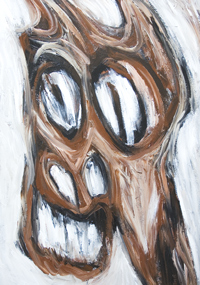 New, extreme, ultra, radical expressionism, horse, equine, animal symbolism, rough brush stroke pattern, distortion, deforme, distorted horse face, manga, anime, pop art style, facial expression, facial abstraction, acrylic painting #7347, 2008 | Kazuya Akimoto Art Museum