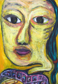 new,facial expressionism, distorted, distortion, deforme female face portrait painting, facial expressions, Asian, Chinese, woman bust, acrylic painting #7440, 2008 | Kazuya Akimoto Art Museum