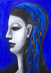 New historic neoclassicism female profile portrait painting, ancient Egypt theme, grisaille, cobalt blue, ultramarine, blue color symbolism, most famous and beautiful woman sculptural profile, human face expression, acrylic painting # 7492, 2008 | Kazuya Akimoto Art Museum