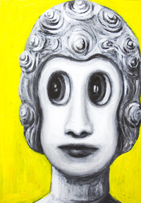 New, anime, manga 3d style, religious Japanese pop art Buddha portrait painting, gray, grey, grisaille, sfumato, yellow color symbolism, contemporary Japonism human portrait, holy, sacred, Asian, religious symbolism acrylic painting #7505, 2008 | Kazuya Akimoto Art Museum