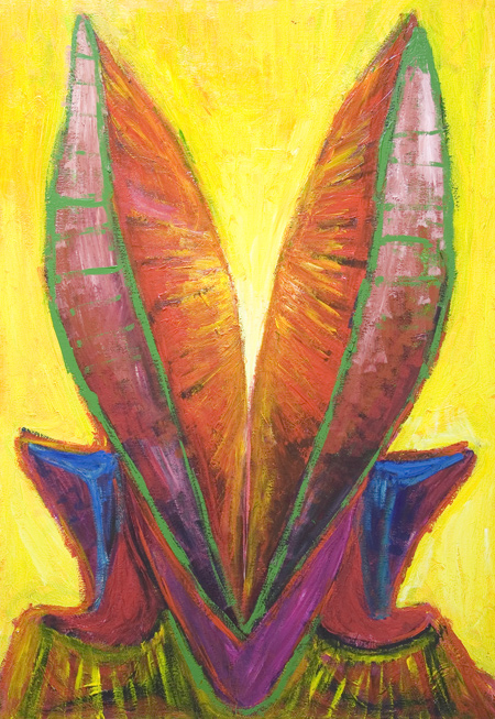 New colorful pop surrealism painting,  complementary colors, contemporary religious icon angel portrait painting, contemporary religious symbolism, surreal expressionism, acrylic painting #7535, 2008 | Kazuya Akimoto Art Museum