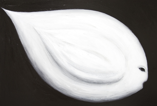 New contemporary Christian theme fish symbolism painting, white color symbolism, goddess, 3d ichthus symbol, surreal realism, mythological symbolism, mythical black and white surrealism, religious symbolism, sfumato, new chiaroscuro,  massive body, contemporary angel, acrylic painting # 7560, 2008 | Kazuya Akimoto Art Museum