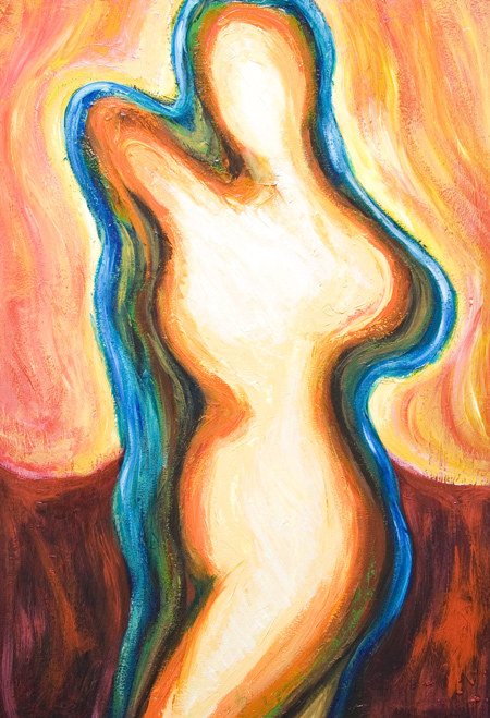 new, Christian traditional theme, abstract blessed virgin Mary image painting, abstract symbolism, abstract human figures, female body symbolism, contemporary religious symbolism artwork, abstract Mary, abstract virginity, abstract immaculacy, abstract light symbolism, contemporary Virgin birth theme, acrylic painting #7694, 2008 | Kazuya Akimoto Art Museum