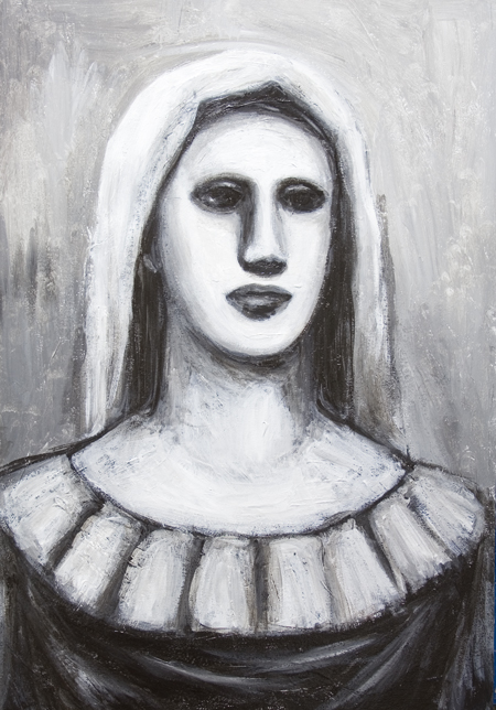 New black and white contemporary strong holy Virgin Mary image, Virgin Mary bust portrait painting, new Christian symbolic icon, contemporary religious symbolism, female symbolism, female bust, classical, traditional Christian theme, acrylic painting $7723, 2008 | Kazuya Akimoto Art Museum