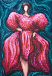 Woman in Pink ( Abstract Debutante ) : New female symbolism, abstract female full-length well-dressed portrait painting, abstract graceful human figure, green and red, beautiful complementary colors, color symbolism, fashionable society lady, 3d virtual female dynamic body image, draped red dress, acrylic painting # 7819, 2008 | Kazuya Akimoto Art Museum