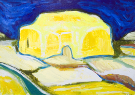Yellow Supermarket : New abstract architectural impressionism distortion cityscape painting, abstract architectural expressionism, abstract distorted architecture, yellow color symbolism painting, abstract suburban scene, abstract yellow, blue and yellow complementary contrast, postmodern impressionism, acrylic painting #7824, 2008 | Kazuya Akimoto Art Museum