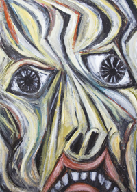 New Contemporary Christian Saint Sebastian agonized face portrait painting, deforme, contemporary religious symbolism, human face symbolism, distorted facial expression, thick line patterns , Roman, martyr, Catholic, historic, ancient theme extreme expressionism acrylic painting # 7834, 2008 | Kazuya Akimoto Art Museum