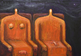 The Royal Family : New, surreal abstract human body form painting, abstract human body symbolism, surreal solitude, dreary, gloomy scene, dark human family, abstract ancient, abstract Egyptian symbolism, orange color symbolism, number 2 symbolism, abstract family, abstract surrealism, human love, human family theme, abstract king and queen, imperial, royal blood theme, acrylic painting # 7855, 2008 | Kazuya Akimoto Art Museum