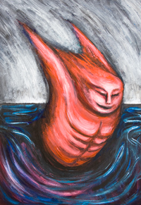 The Devil may sometimes enjoy swimming Butterfly in Hell : New, dark, surreal expressionism painting, red devil swimming portrait painting, distorted human figure, abstract distorted body movement, body distortion, abstract swimming, strange, odd, weird hell scene, hell sight, abstract devil, demon, Satan, evil swimmer, contemporary surrealism human figure odd athlete, acrylic painting # 7996, 2008 | Kazuya Akimoto Art Museum