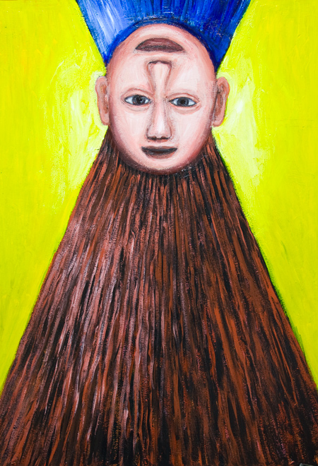 New,naive Trompe-l'œil painting, naive trick art,  hidden reversible portrait painting, odd, strange, weird surrealism, naive expressionism portrait painting, odd facial expressions, distortion, distorted human faces, naive portrait acrylic painting #8026, #8036, 2008 | Kazuya Akimoto Art Museum