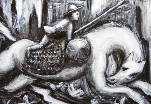 New Spanish World literature theme, black and white, surreal man and horse portrait acrylic painting #8052, 2008 | Kazuya Akimoto Art Museum