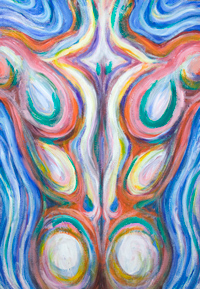 New, Japanese psychedelic anatomical pop art, colorful male back muscle theme, color symbolism painting, abstract human body form,abstract human figure, male muscular body symbolism, muscular athlete figure, figurative expressionism, fluid, flow, human muscle pattern, acrylic painting #8069, 2008 | Kazuya Akimoto Art Museum