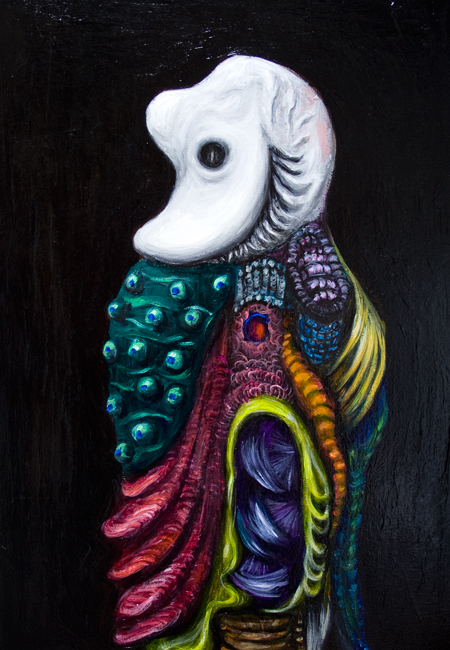 New, surrealism human fetus embryo portrait, surreal realism, abstract human figure, contemporary colorful symbolism, surreal symbolism, detailed, elaborate colorful textural pattern, dark, classical, eerie, weird, strange human portrait, human nature theme, acrylic painting #8142, 2008 | Kazuya Akimoto Art Museum
