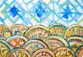 Geometric Three Blue Suns and Sea Waves : New, geometric pattern seascape, abstract seascape, geometric expressionism, geometric landscape, decorative, ornamental abstract wave patterns, abstract decorative geometric raw art, acrylic painting #8174, 2008 | Kazuya Akimoto Art Museum