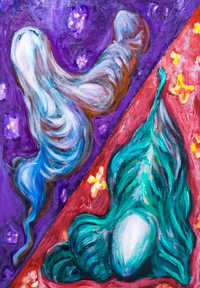 Two Types of Human Metamorphosis : New, Abstract human figure pattern, human metamorphosis, human mutation, distortion, abstract human body form, abstract human figure, figurative abstract, abstract human, complementary colors, odd, strange, surreal expressionism, symbolic expressionism, acrylic painting #8230, 2009 | Kazuya Akimoto Art Museum