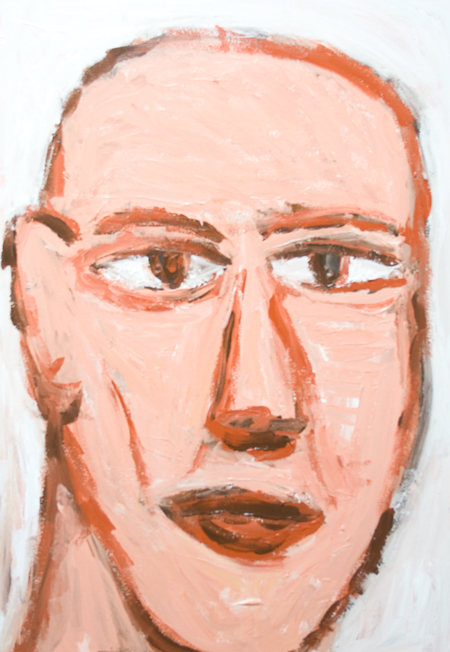 new raw art, art brut portrait painting, new expressionism, male naive portrait, facial expression theme, human face, rough brush strokes, contemporary acrylic painting #8261, 2009 | Kazuya Akimoto Art Museum